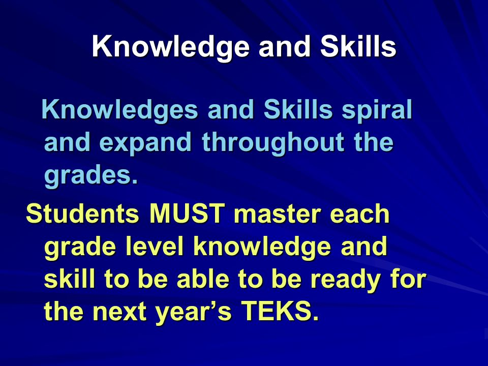 Knowledge and Skills Knowledges and Skills spiral and expand throughout the grades.