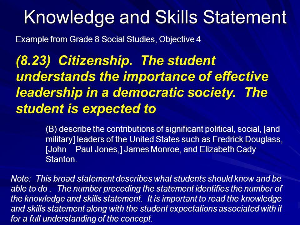 Knowledge and Skills Statement