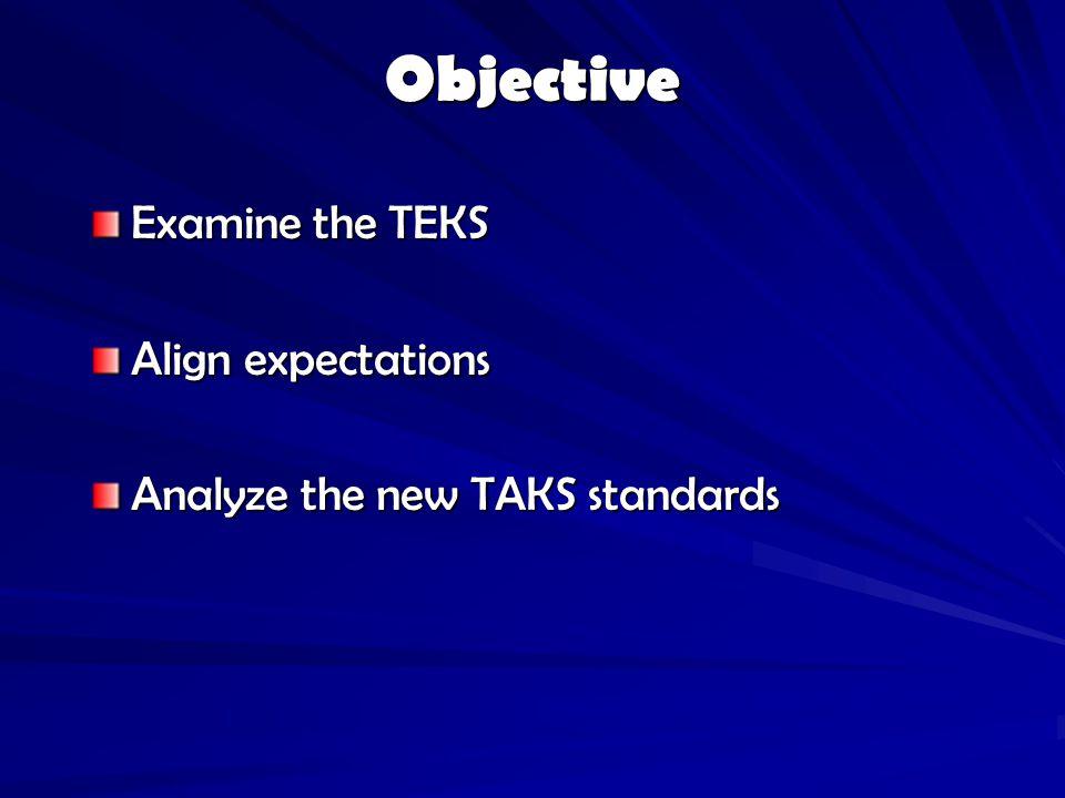 Objective Examine the TEKS Align expectations