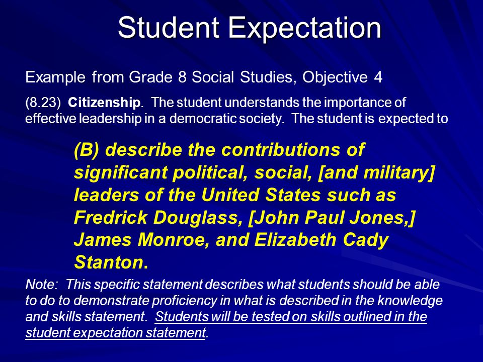Student Expectation Example from Grade 8 Social Studies, Objective 4