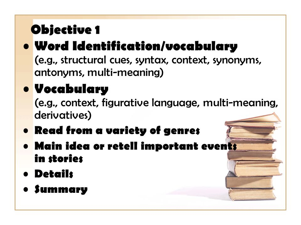 Objective 1 Word Identification/vocabulary (e.g., structural cues, syntax, context, synonyms, antonyms, multi-meaning)
