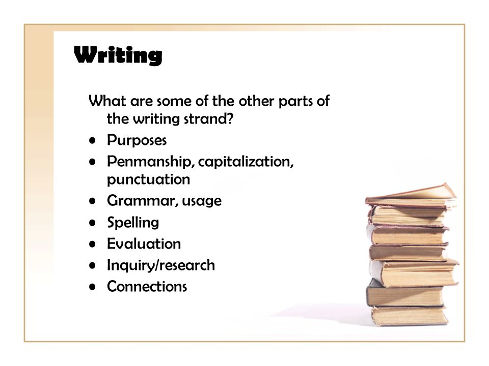 Writing What are some of the other parts of the writing strand