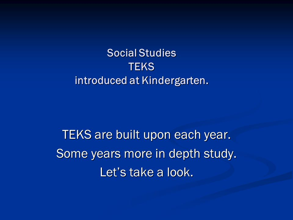 Social Studies TEKS introduced at Kindergarten.