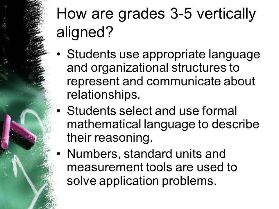 How are grades 3-5 vertically aligned