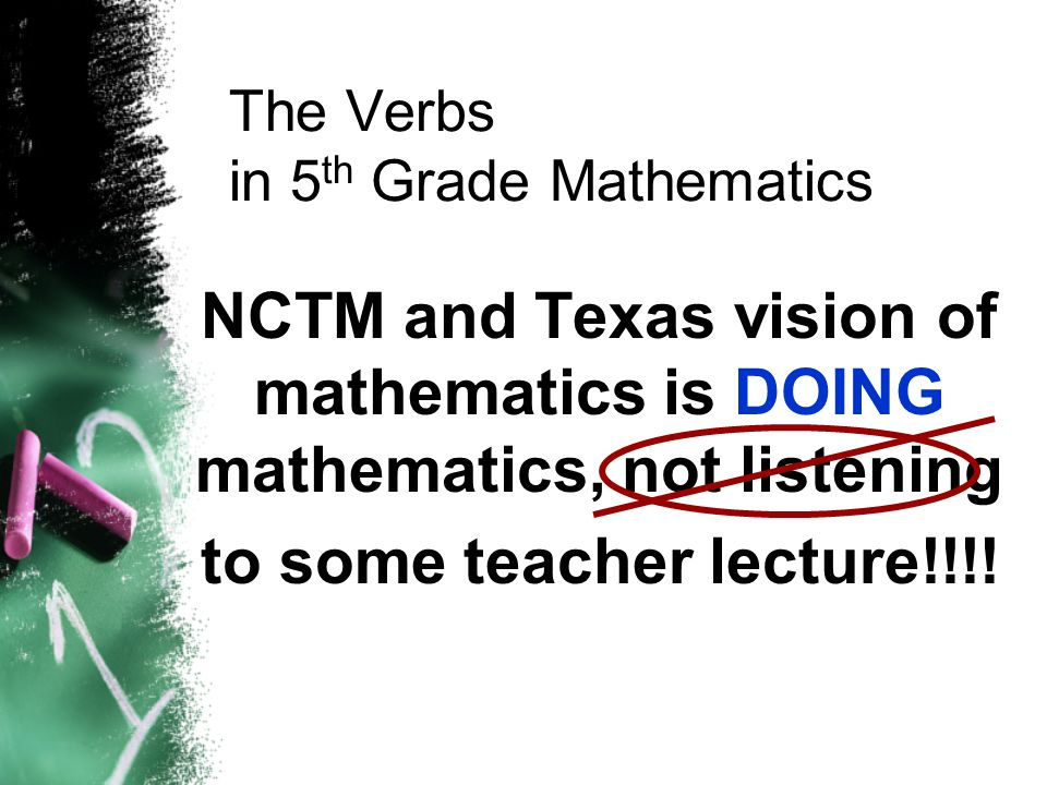 The Verbs in 5th Grade Mathematics