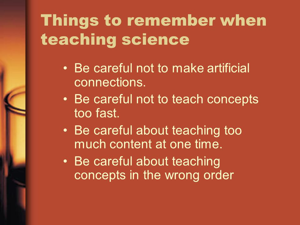 Things to remember when teaching science