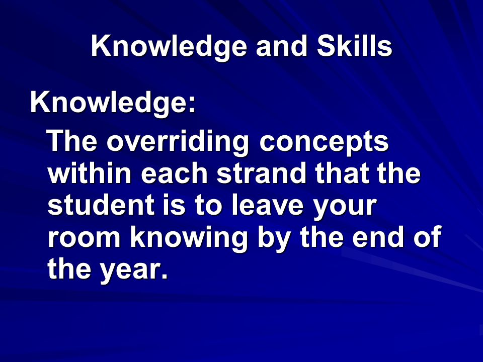 Knowledge and Skills Knowledge: The overriding concepts within each strand that the student is to leave your room knowing by the end of the year.