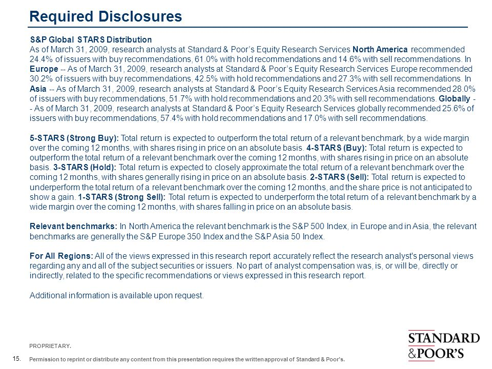 Required Disclosures S&P Global STARS Distribution