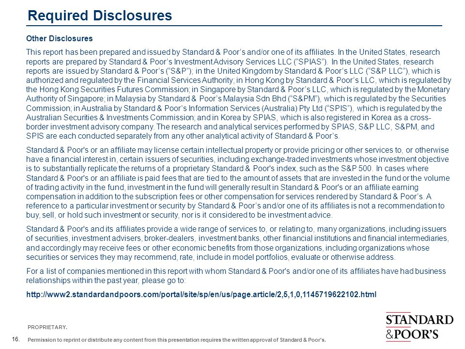 Required Disclosures Other Disclosures