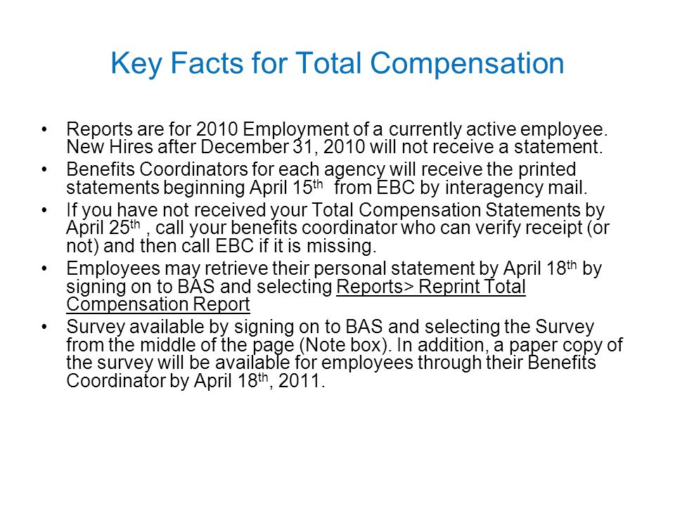 Key Facts for Total Compensation