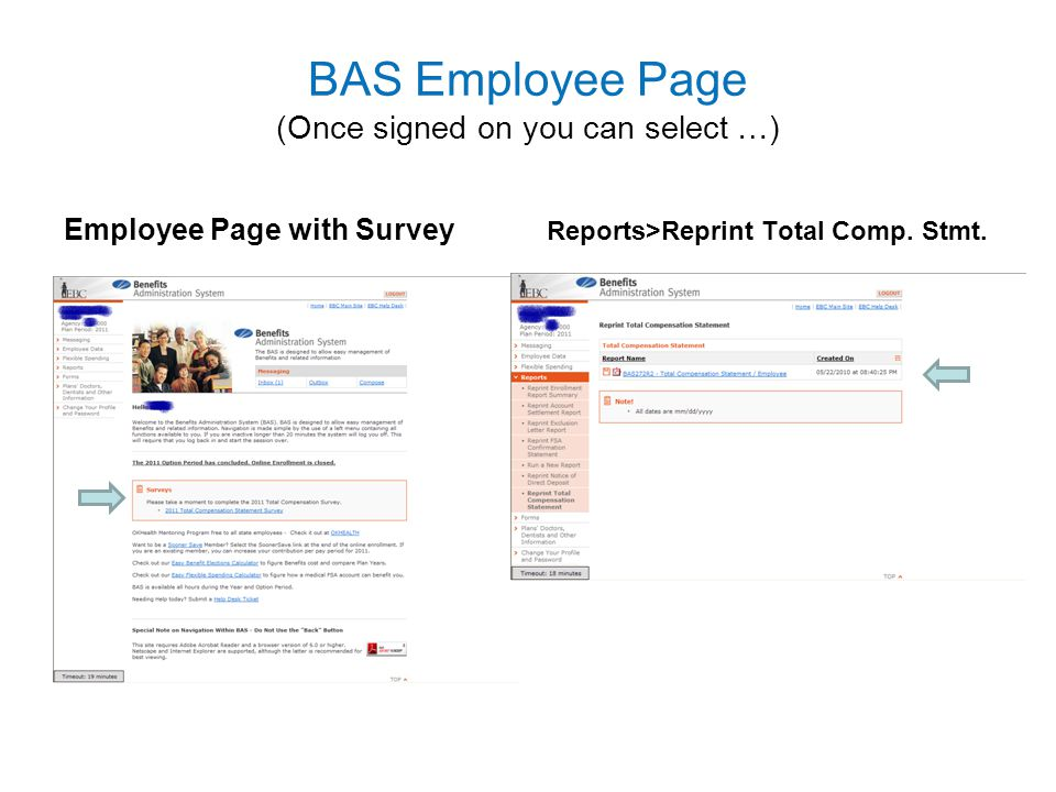 BAS Employee Page (Once signed on you can select …)