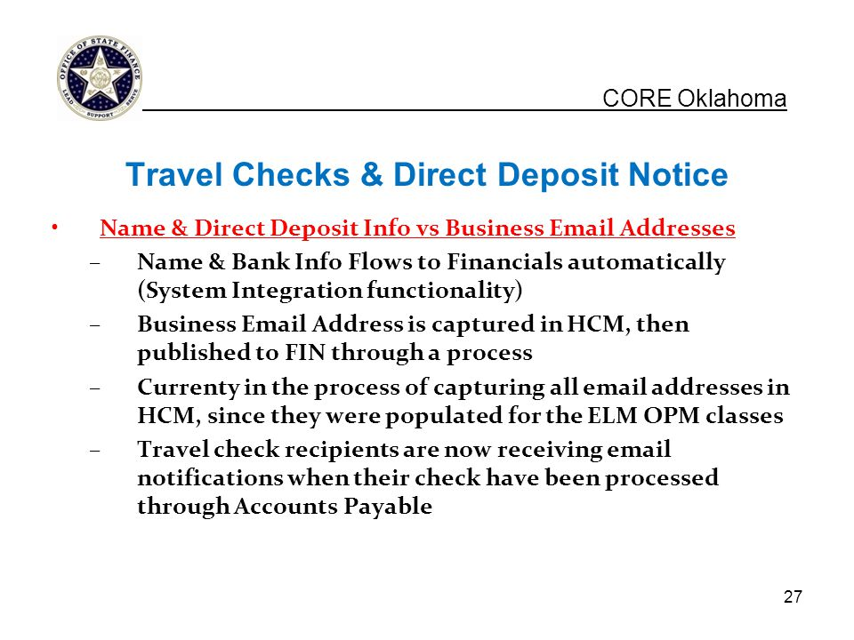 Travel Checks & Direct Deposit Notice