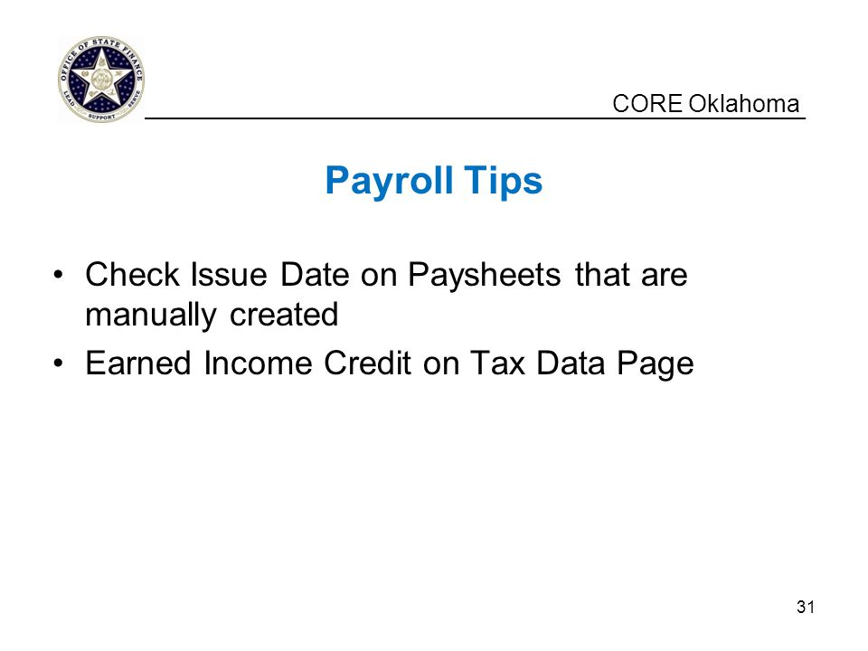 Payroll Tips Check Issue Date on Paysheets that are manually created