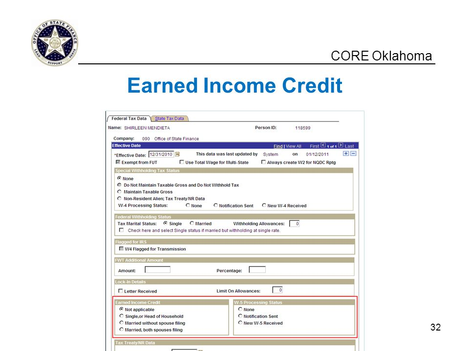 Earned Income Credit CORE Oklahoma