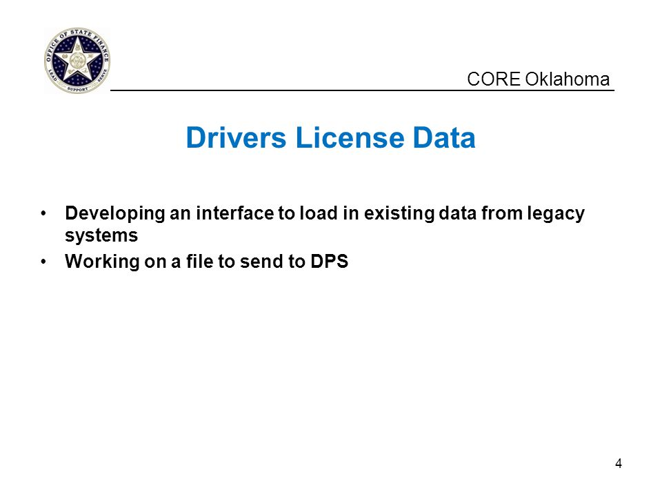 Drivers License Data CORE Oklahoma