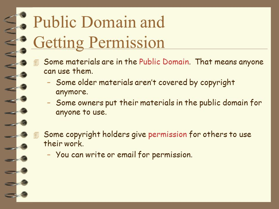 Public Domain and Getting Permission