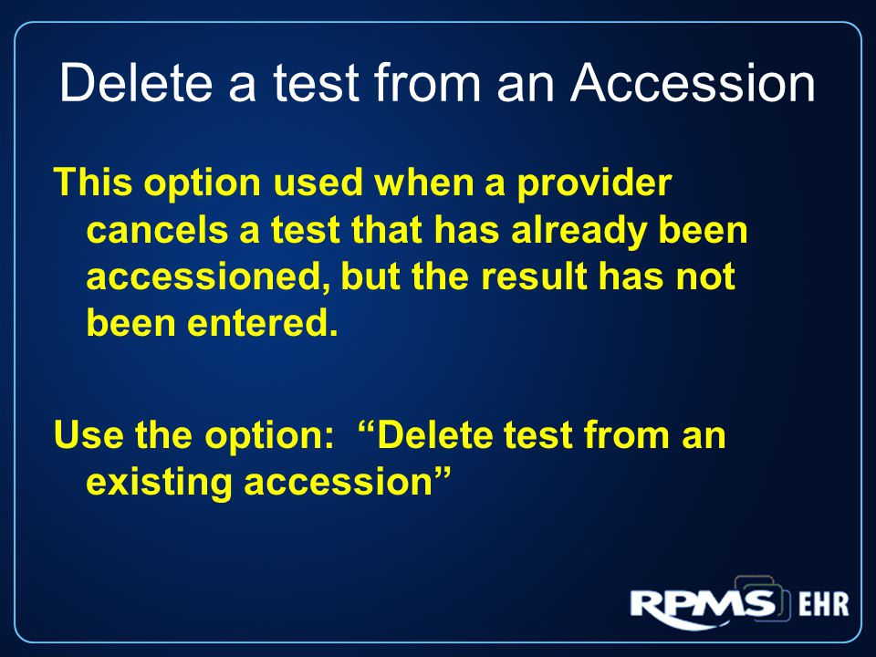 Delete a test from an Accession