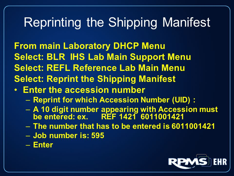 Reprinting the Shipping Manifest