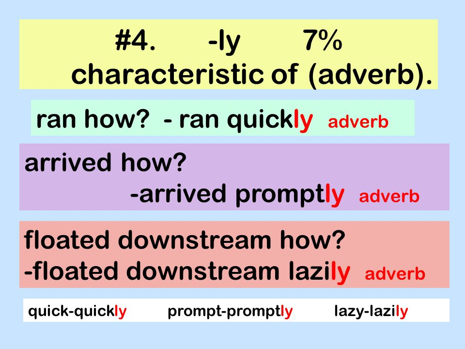 #4. -ly 7% characteristic of (adverb).