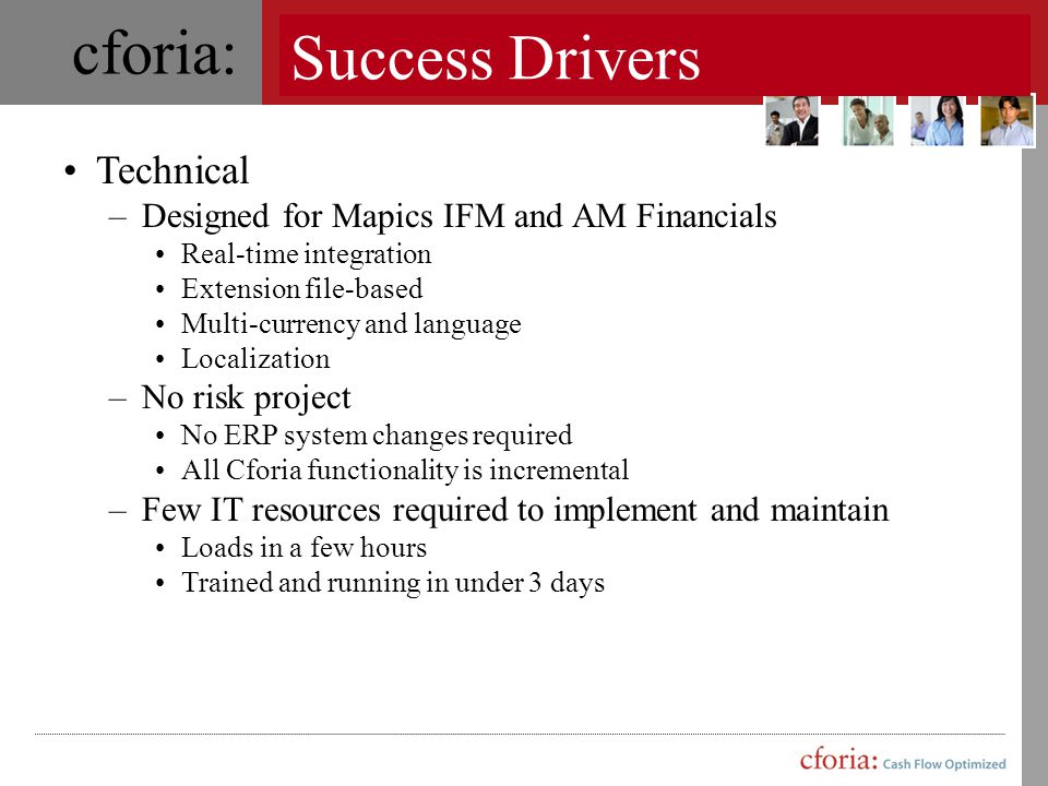 Success Drivers Technical Designed for Mapics IFM and AM Financials