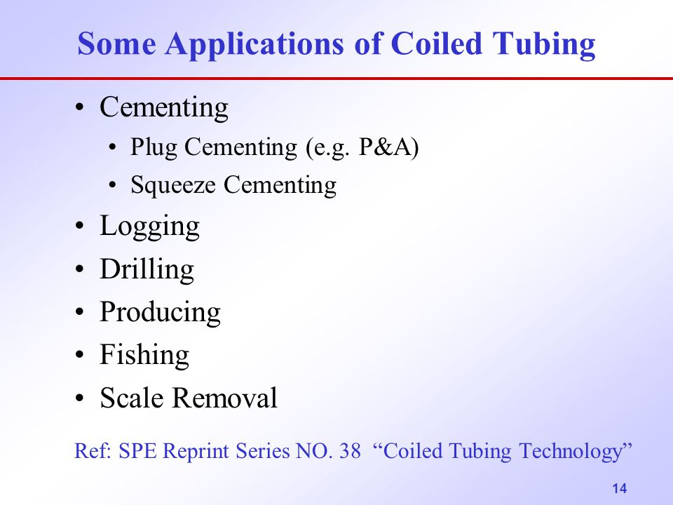 Some Applications of Coiled Tubing