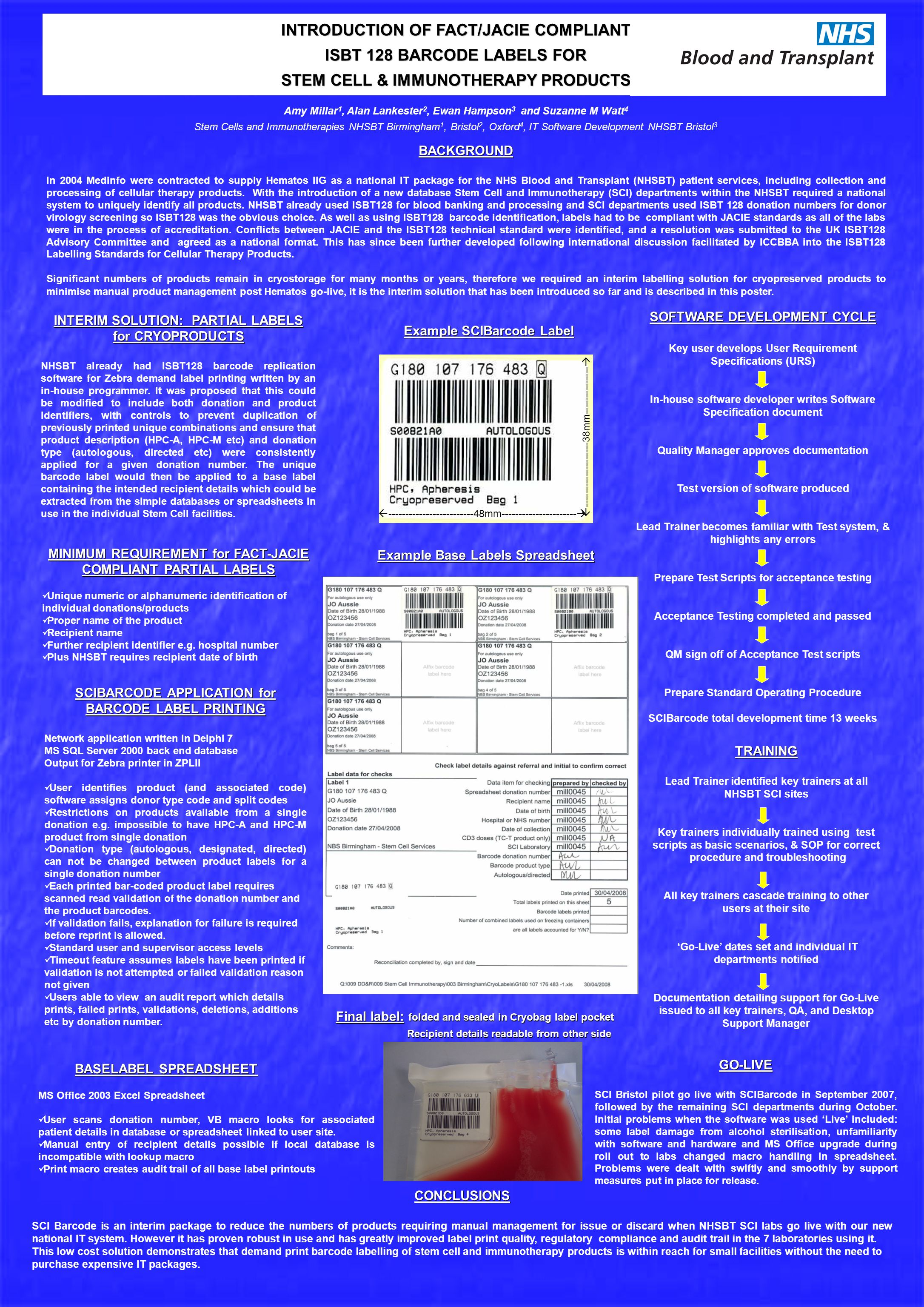 INTRODUCTION OF FACT/JACIE COMPLIANT ISBT 128 BARCODE LABELS FOR