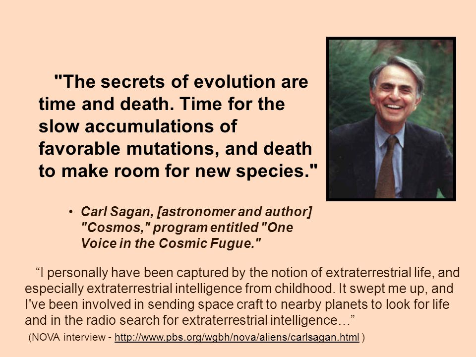 The secrets of evolution are time and death