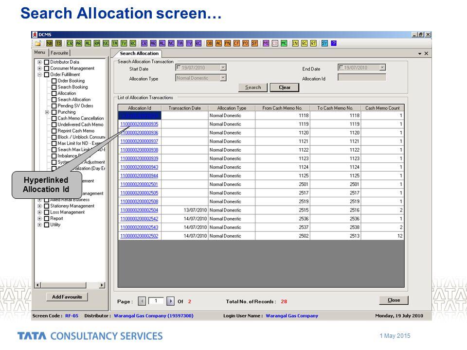 Search Allocation screen…
