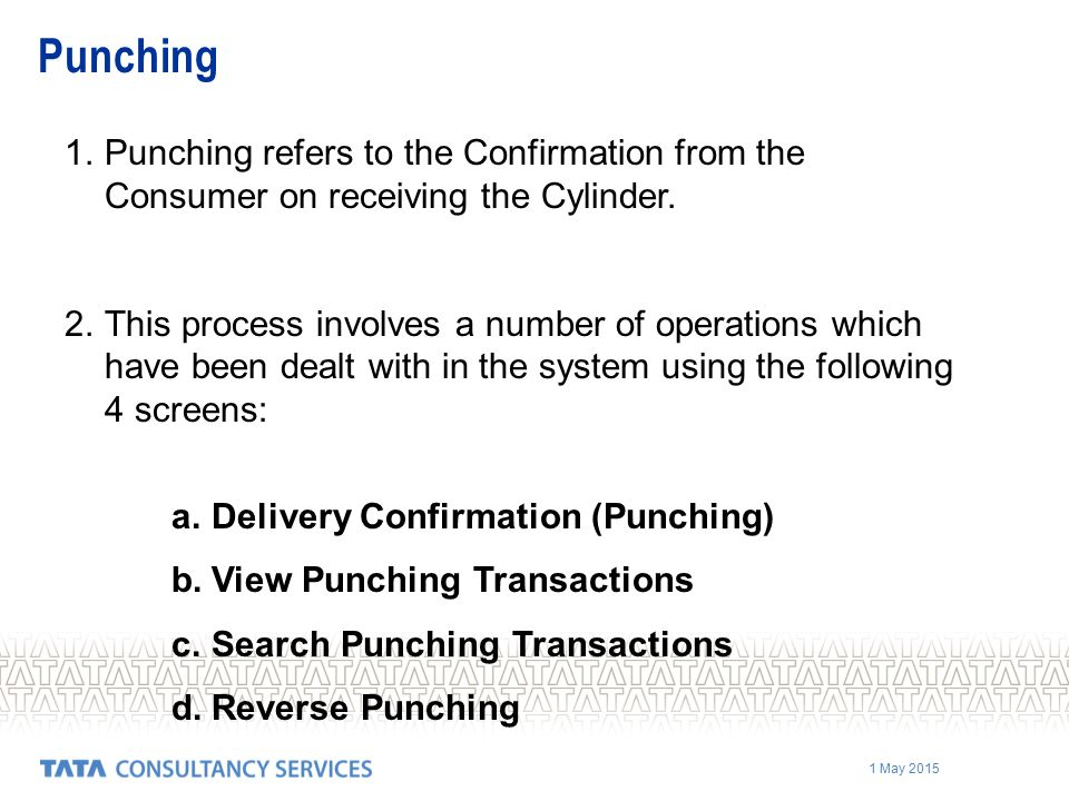 Punching Punching refers to the Confirmation from the Consumer on receiving the Cylinder.