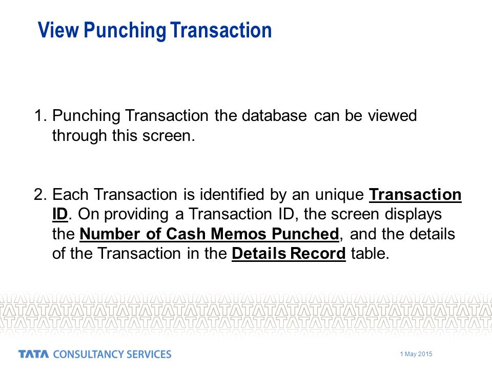View Punching Transaction