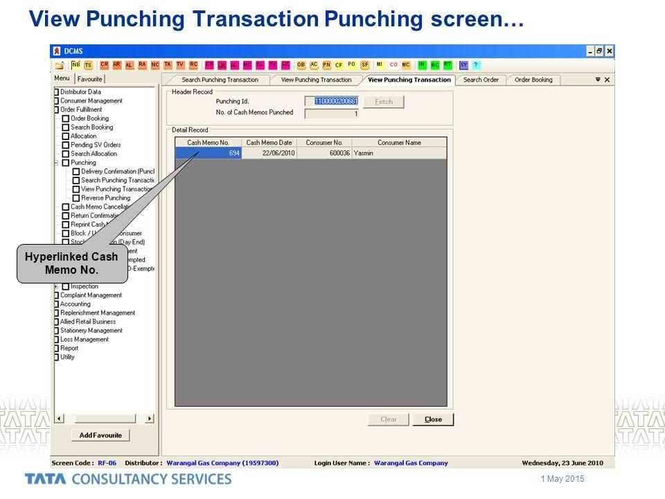 View Punching Transaction Punching screen…