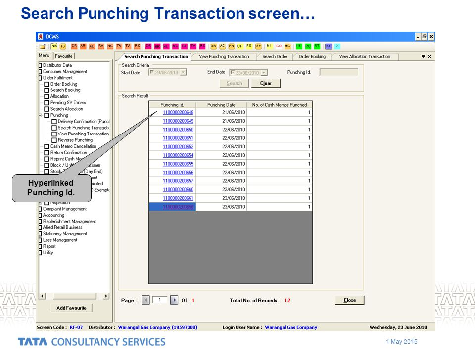 Search Punching Transaction screen…