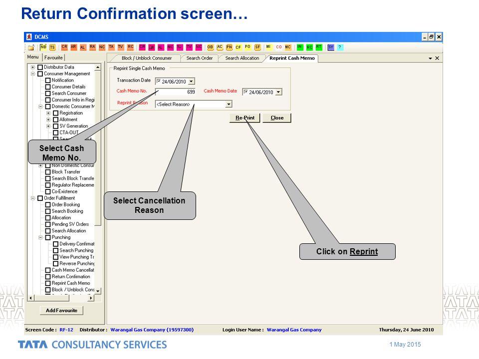 Return Confirmation screen…
