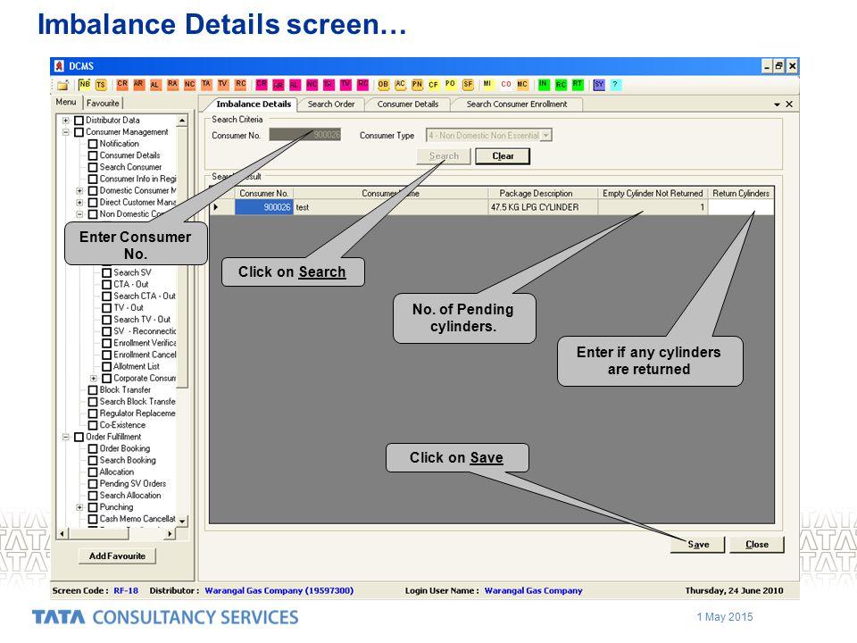 Imbalance Details screen…