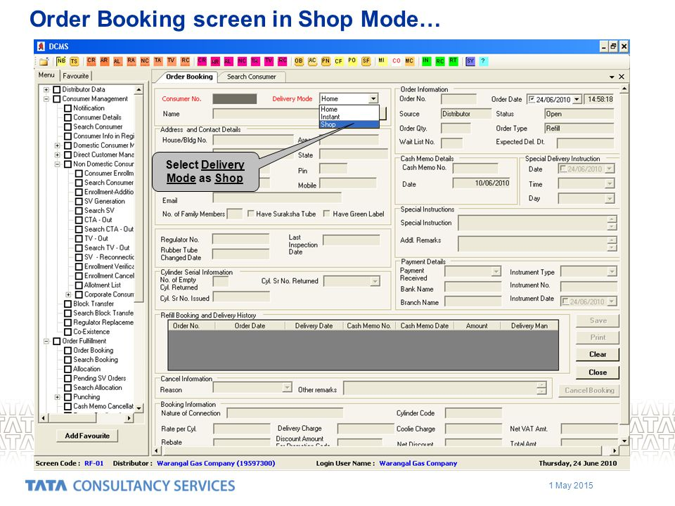 Order Booking screen in Shop Mode…