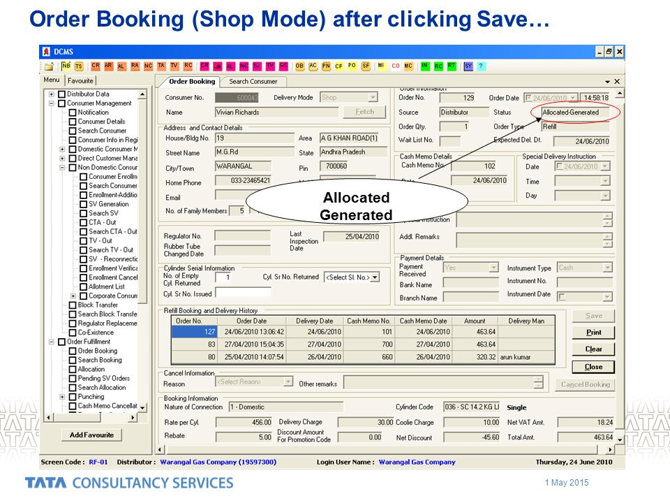 Order Booking (Shop Mode) after clicking Save…