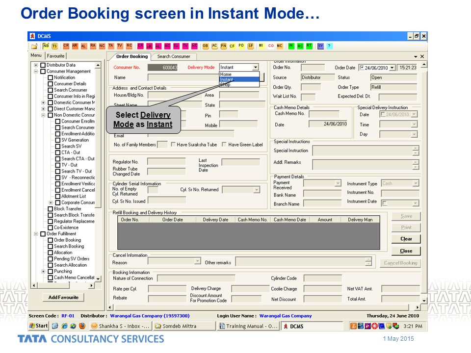 Order Booking screen in Instant Mode…