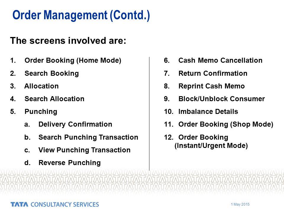Order Management (Contd.)