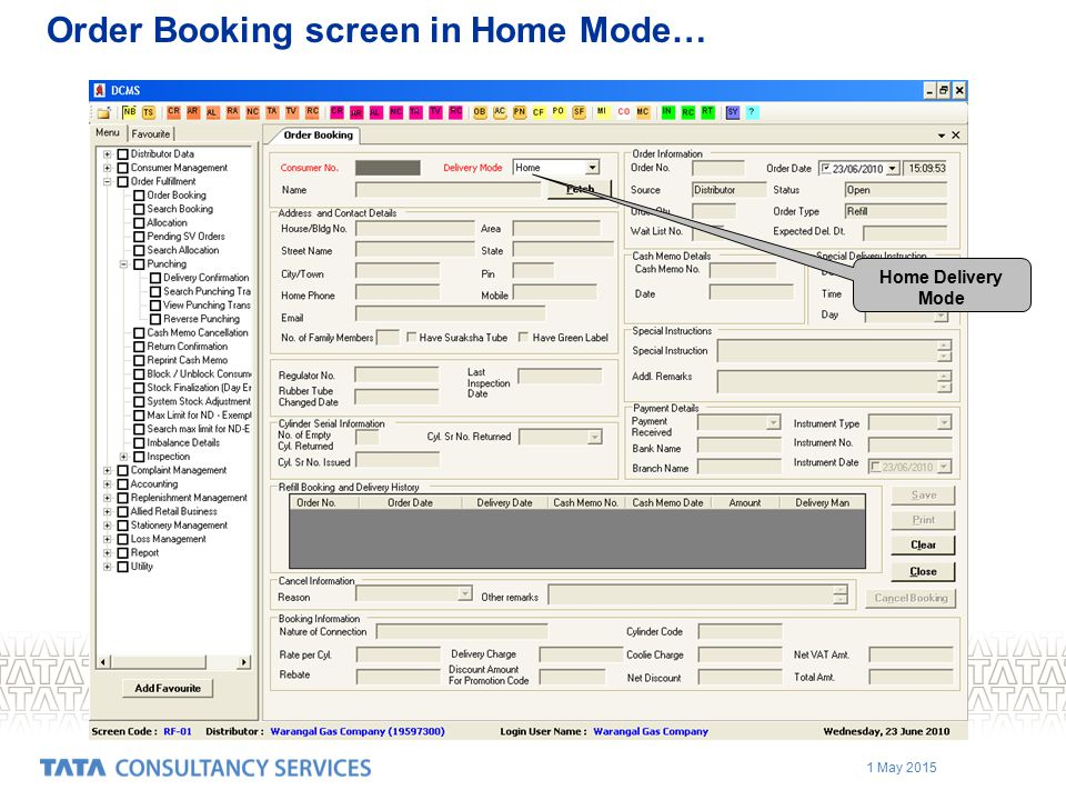 Order Booking screen in Home Mode…