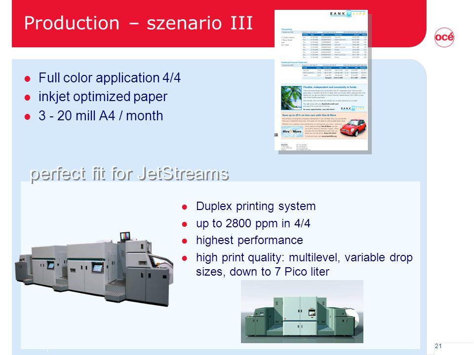 Production – szenario III