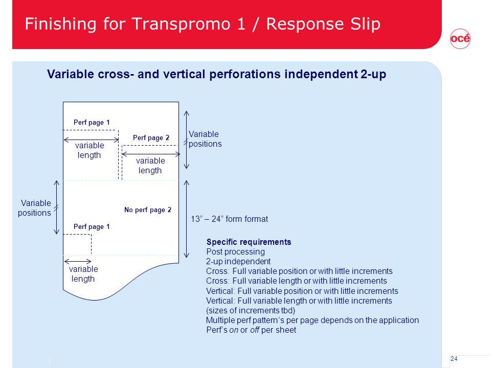 Finishing for Transpromo 1 / Response Slip