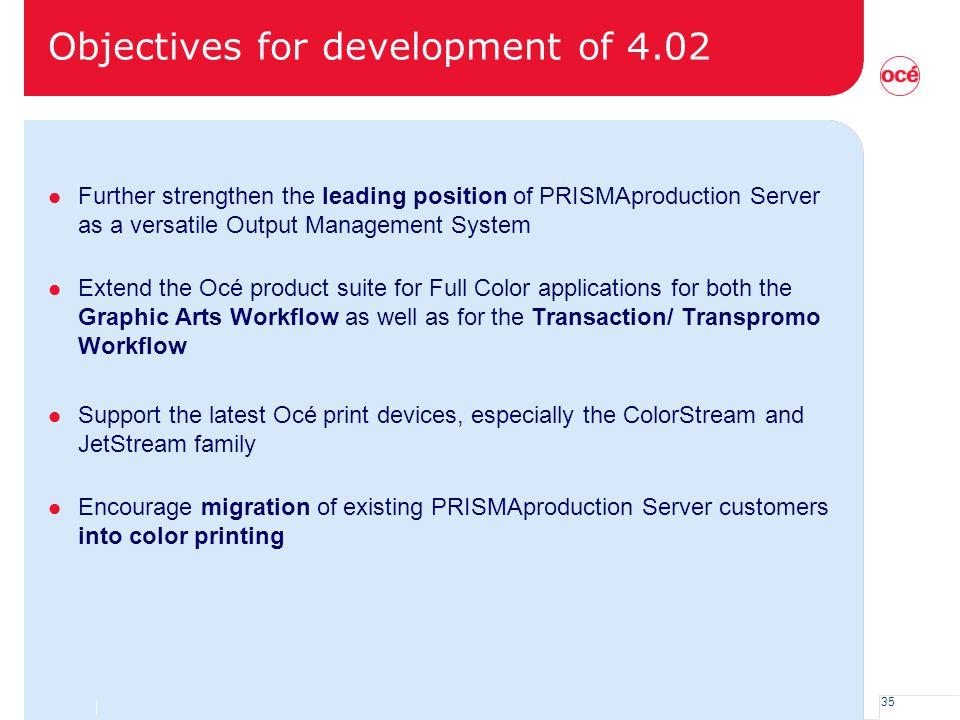 Objectives for development of 4.02