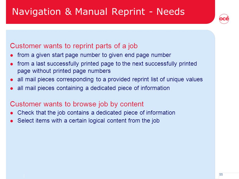 Navigation & Manual Reprint - Needs