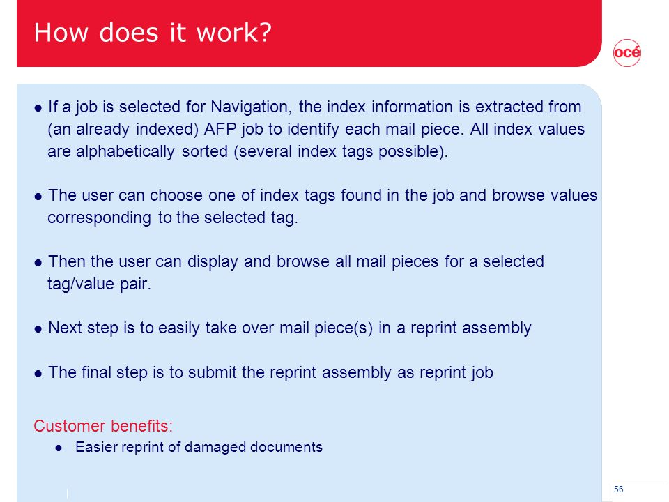 How does it work If a job is selected for Navigation, the index information is extracted from.