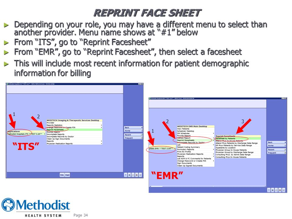 Reprint Face Sheet ITS EMR