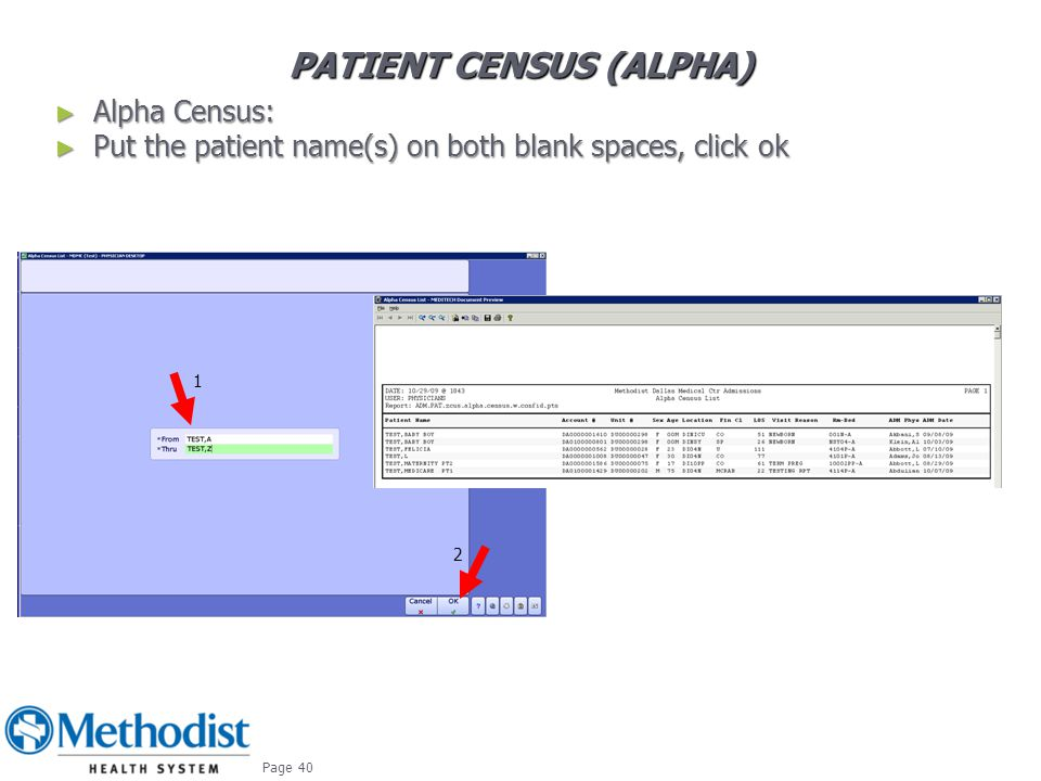 Patient CENSUS (alpha)