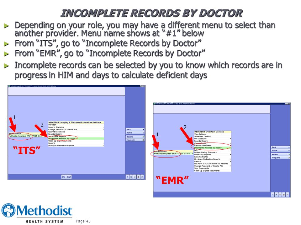 INCOMPLETE RECORDS BY DOCTOR