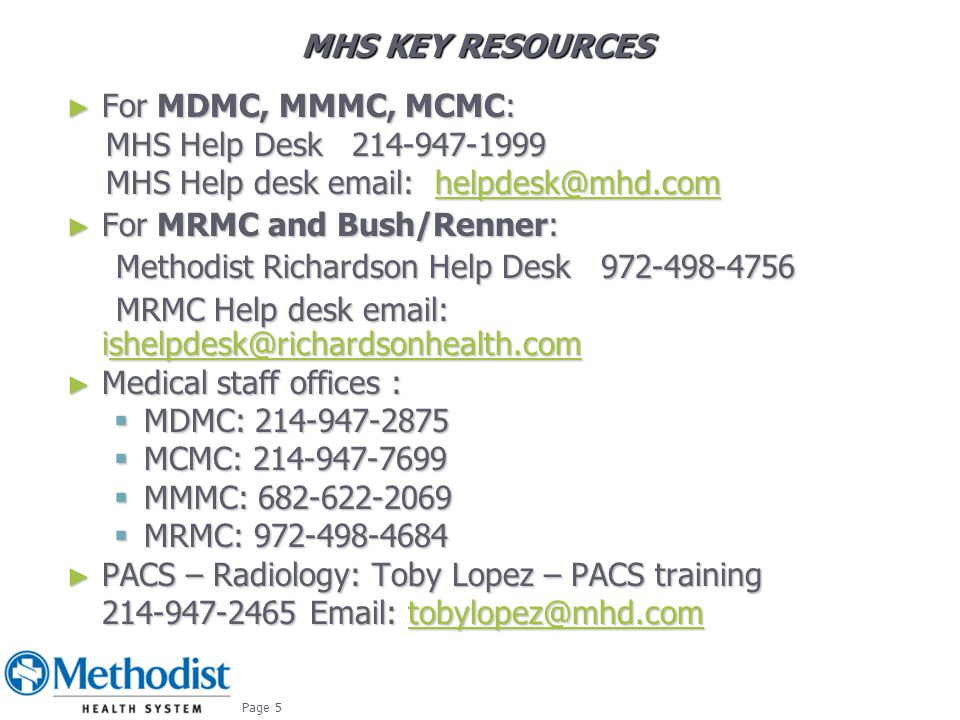 For MRMC and Bush/Renner: Methodist Richardson Help Desk 972-498-4756