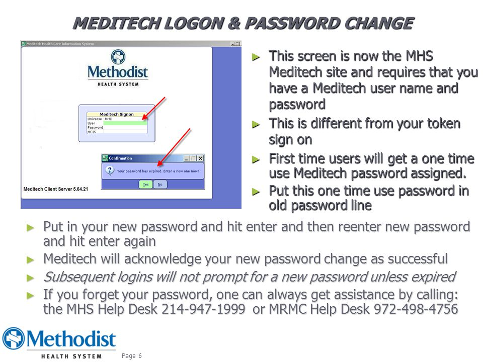 Meditech logon & PASSWORD CHANGE