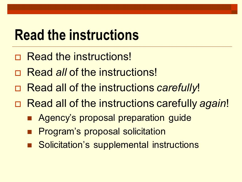 Read the instructions Read the instructions!